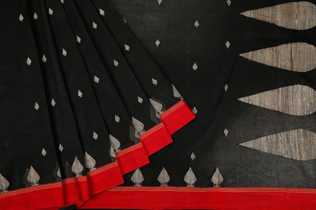 Bengal Cotton Black Saree With Plain Red Border