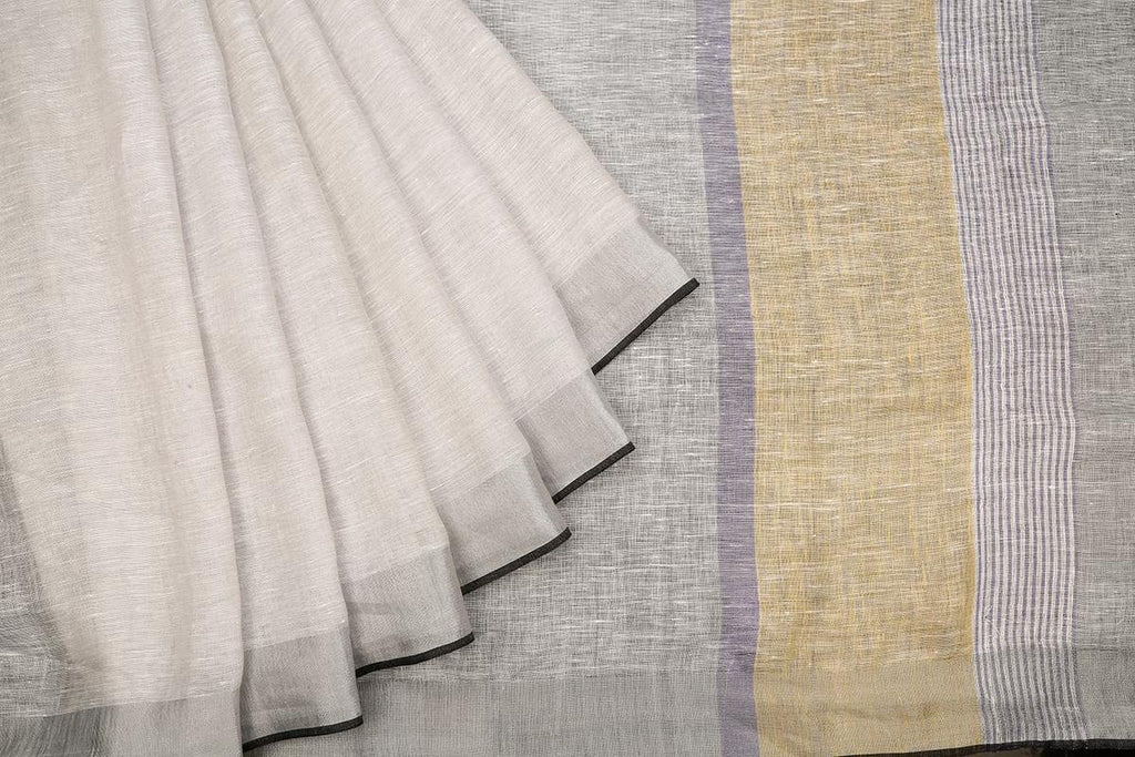 Bhagalpur Plain Light Grey Linen Cotton Saree