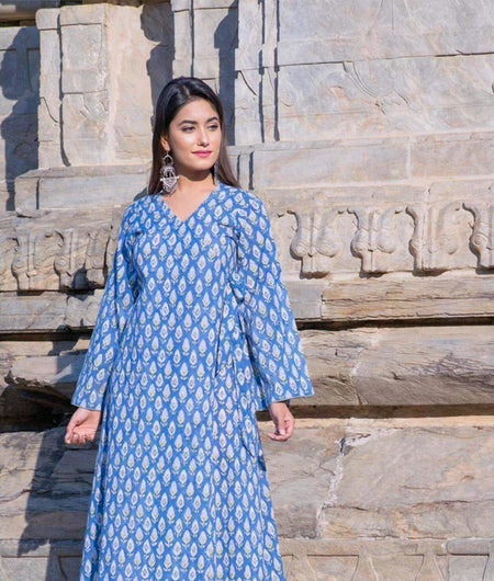 Blue hand block Print Cambric Robe Kurta