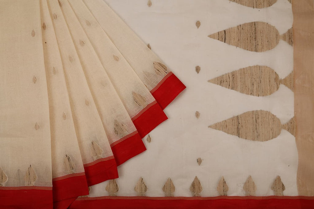 Bengal Cotton Cream Saree With Plain Red Border
