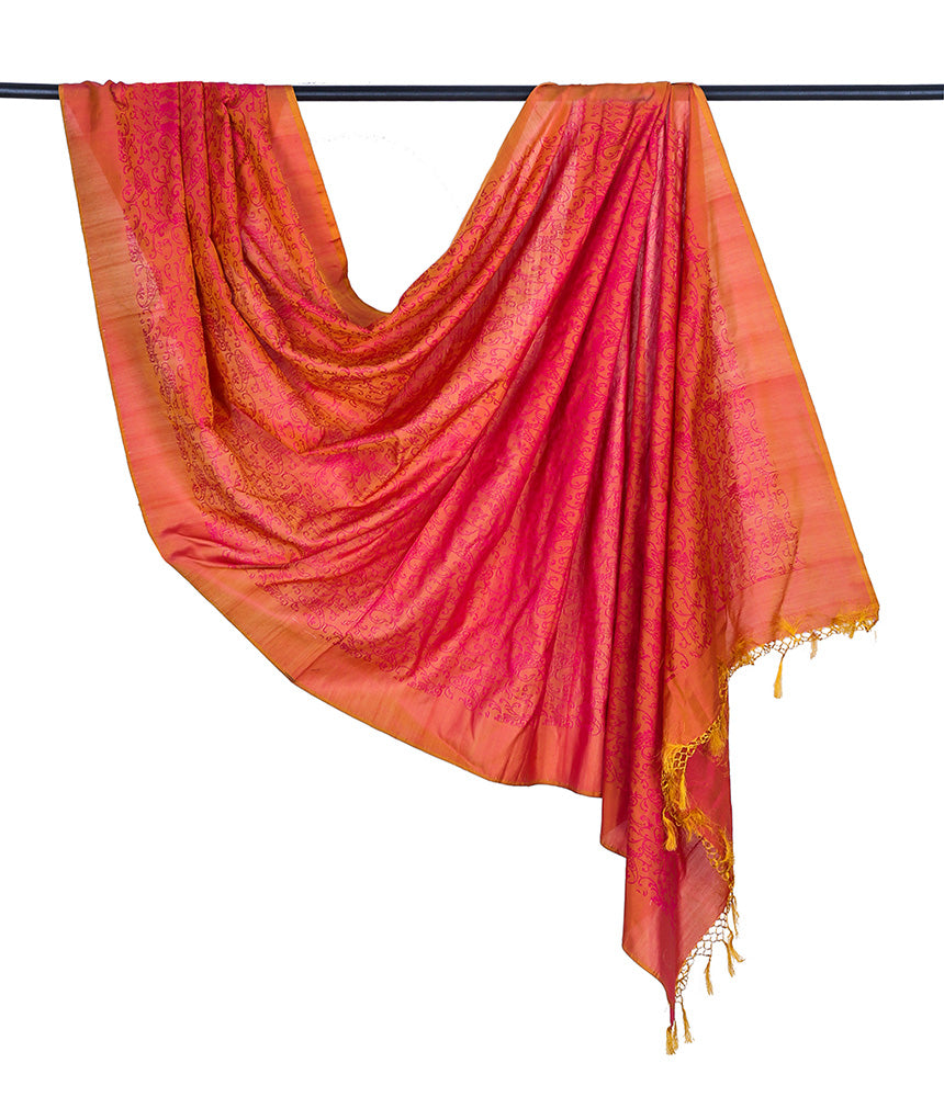 Banarasi katan silk cotton pinkish orange Dupatta  with jangla minadar