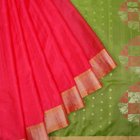 Handloom olive green and pink Silk Saree with plain golden zari border