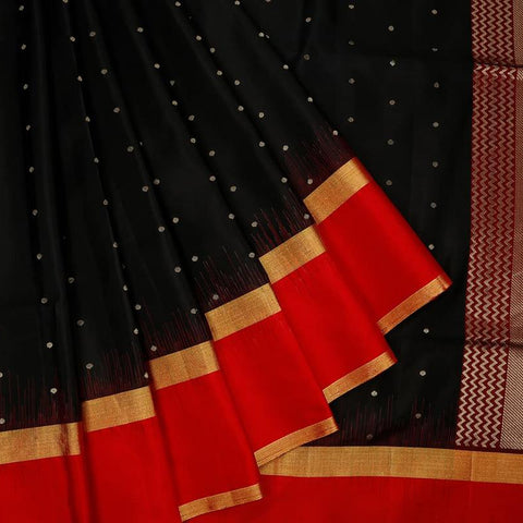 Handloom black and maroon Silk Saree with red and golden stripe border