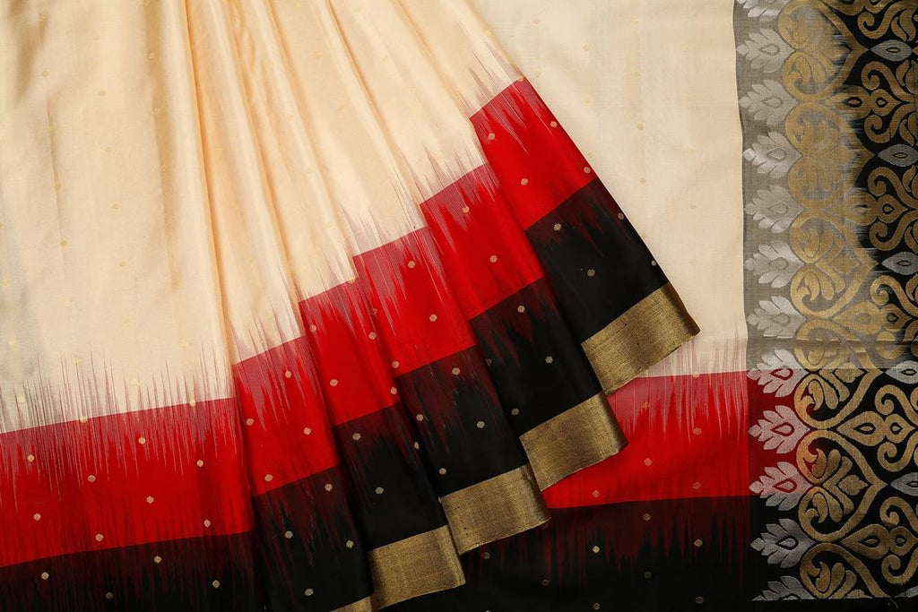 Handloom cream and black Silk Saree with plain golden zari border