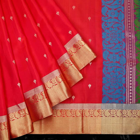 Handloom magenta pink and royal blue Silk Saree with golden zari with paisely design border