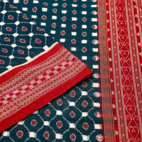 Sambalpuri Cotton  Blue Saree With red border