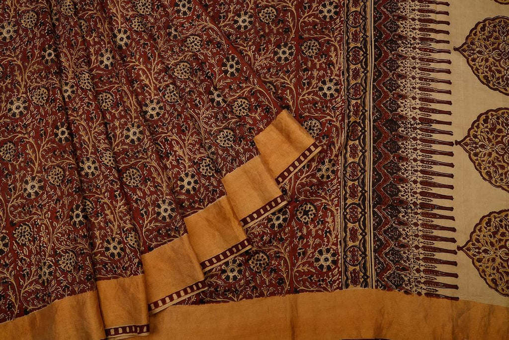 Brown Handloom Silk Block Print Saree With  Border
