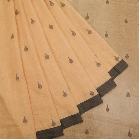 bengal jamdani cotton cream Saree with black border