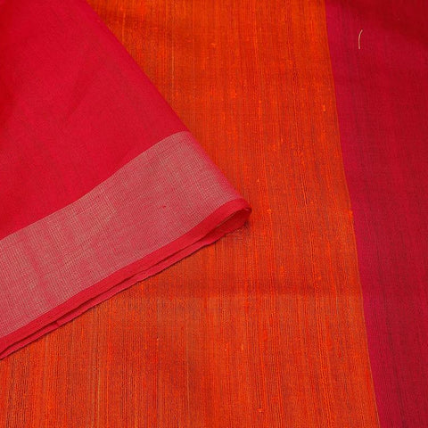 Bhagalpur katan dupion silk orange  Saree
