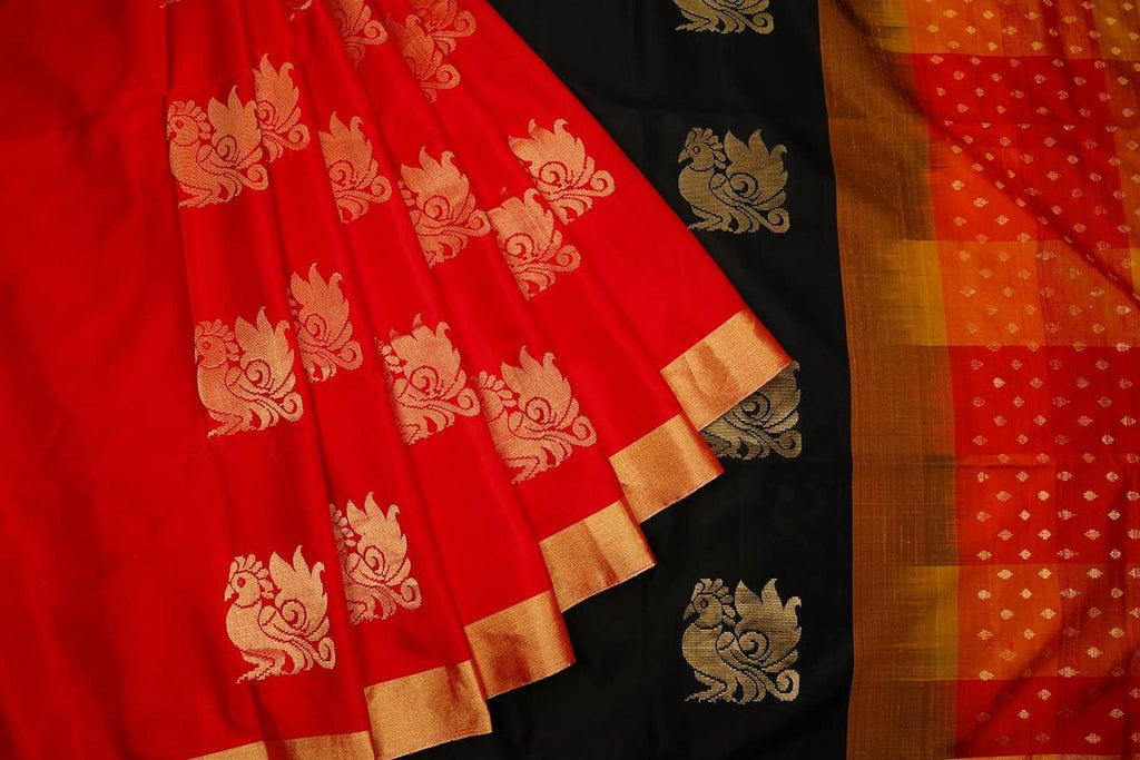 Handloom black and multi Silk Saree with plain golden zari border