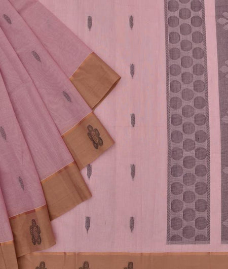 pastel pink Andhra cotton Saree with black thread butti