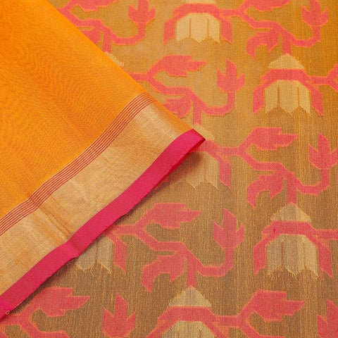 Orange And Magenta Pink Organza Silk Parsi Work Saree