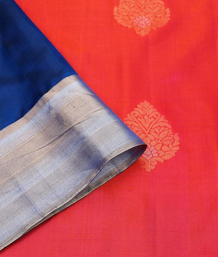 Handloom shaded reddish pink and royal blue Silk Saree with plain golden zari border
