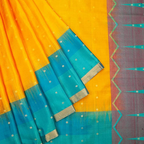 Handloom mustard and emerald green Silk Saree with blue plain border with zari outline