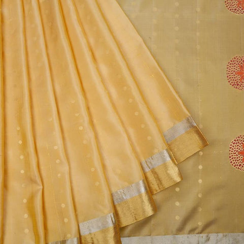 Handloom Mustard Silk Saree with golden and silver stripes border