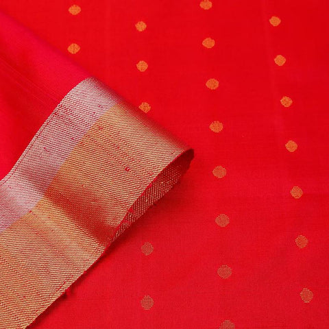 Handloom reddish pink Silk Saree with golden and silver stripes border