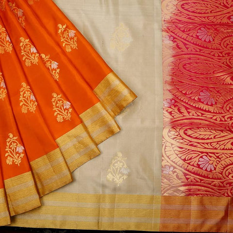 Handloom beige and rani pink Silk Saree with golden and silver stripes border