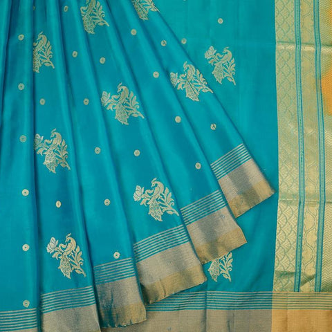 Handloom shaded green and golden Silk Saree with golden and silver stripes border
