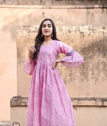 Pink Hand Block Jaal Print Chanderi Dress