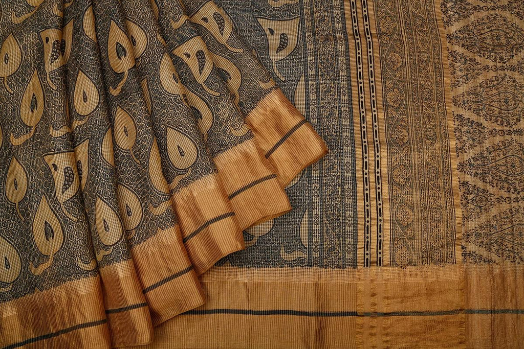 Grey Handloom Tussar Silk Block Print Saree With  Border