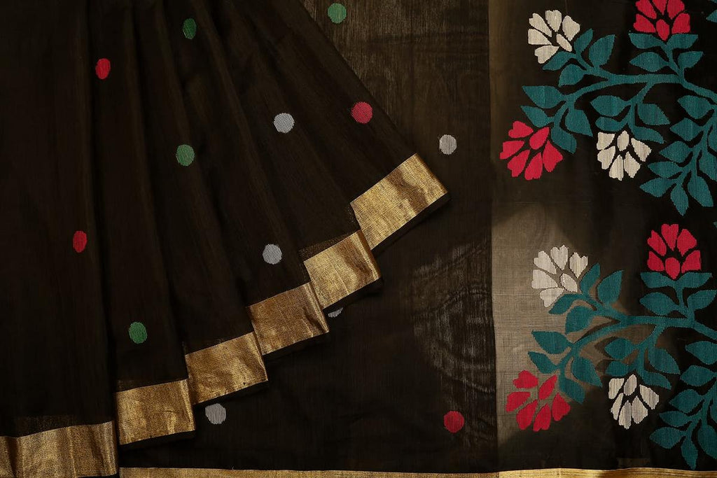 bengal jamdani matka silk black Saree with beige plain border with black outline