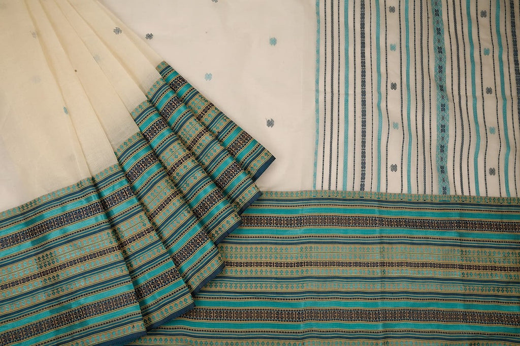 Bengal Cotton Cream Saree With Aqua Blue Skirt Pattern Border