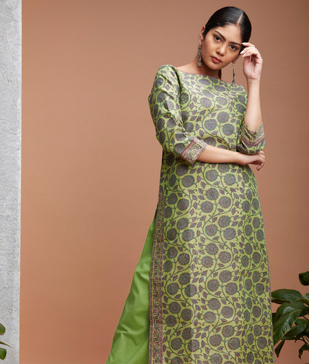 Hand Block Apple Green Chanderi Kurta Set