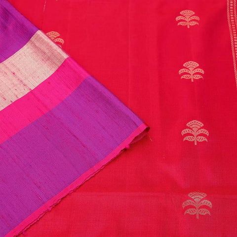Handloom pinkish red and purple Silk Saree with violet and golden stripes border