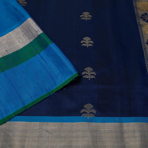Handloom navy blue and emerald green Silk Saree with blue and golden stripes border