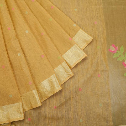 bengal jamdani matka silk yellow Saree with beige plain border with outline
