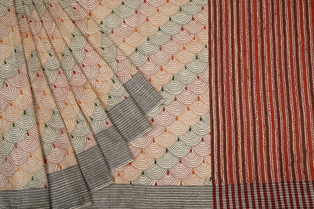 Bengal Tussar Cream Saree With Black Kantha Stitch