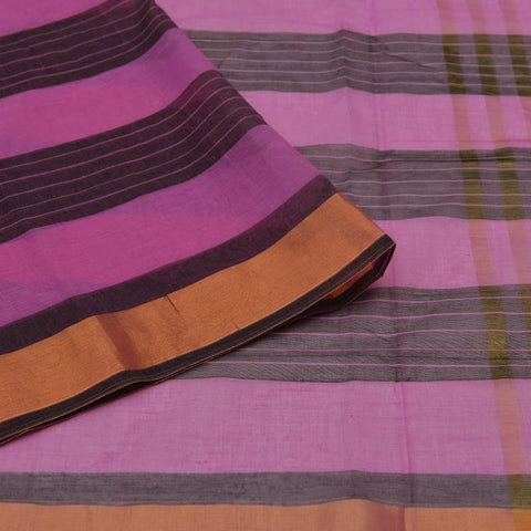 black and pink Andhra cotton Saree with black stripes