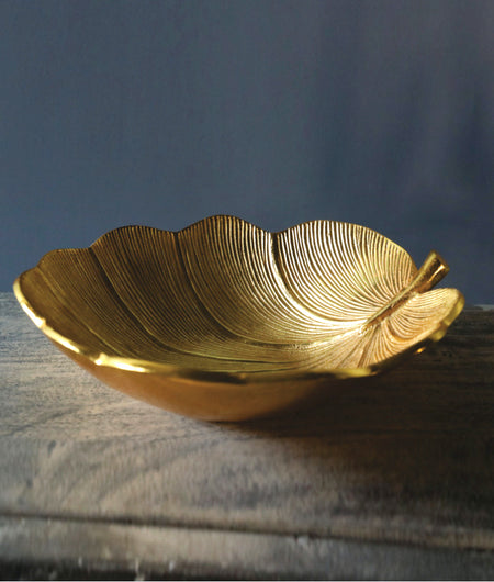 Golden Lotus Leaf Aluminium Decorative Bowl