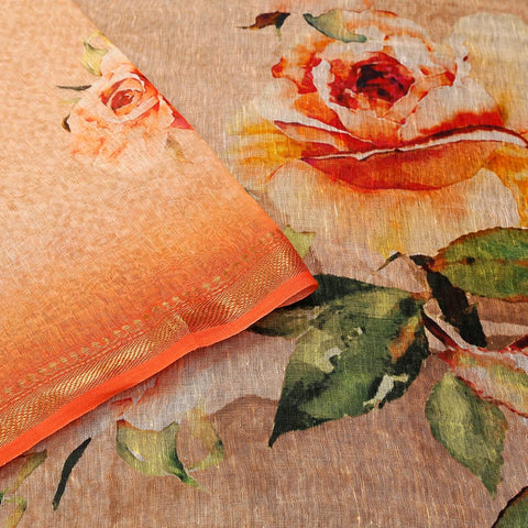 Linen Silk Peach Saree With Rose Pattern