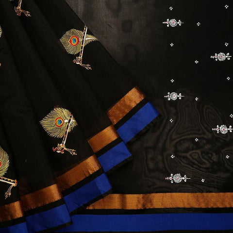 Orissa Chanderi Black Saree With ganga jamuna border
