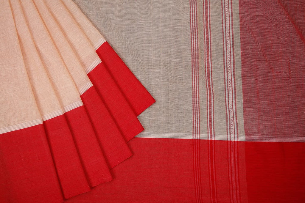 Begampur Cotton Cream Saree With Plain Border