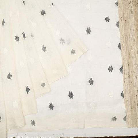 bengal linen handwoven white and black plain Saree