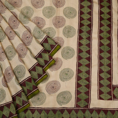 Bengal Tussar cream Saree with maroon border with dimond motif