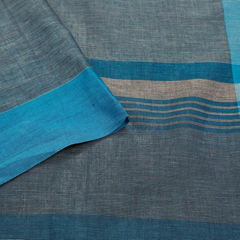 bengal handloom cotton stone blue Saree with plain blue border
