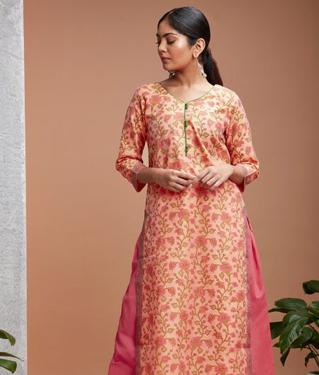 Hand Block Peach Chanderi Kurta Set