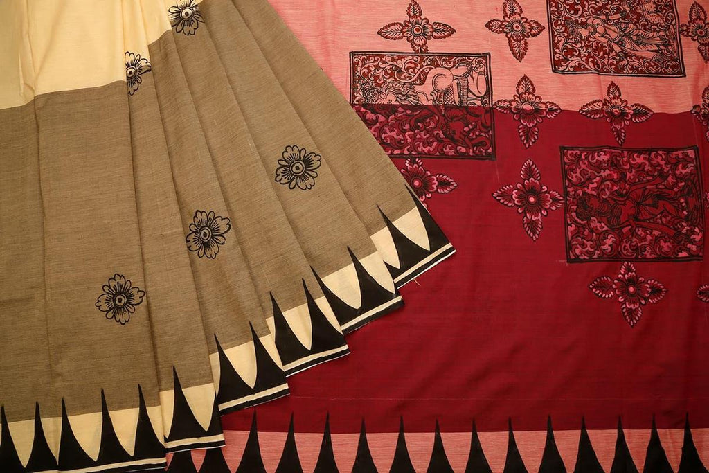 Orissa Cotton Silk Beige Saree With Pyramid Design Border