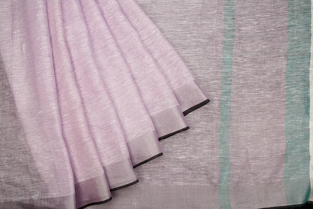 Bhagalpur Plain Light Purple Linen Cotton Saree