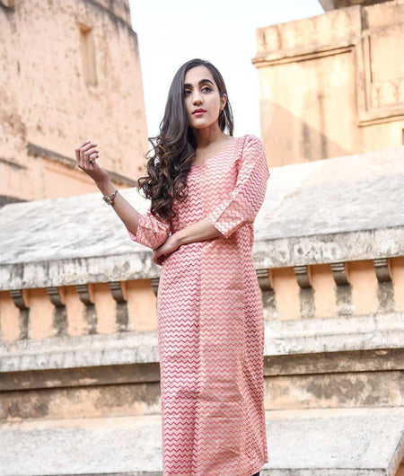Peach Hand Block Chanderi Kurta