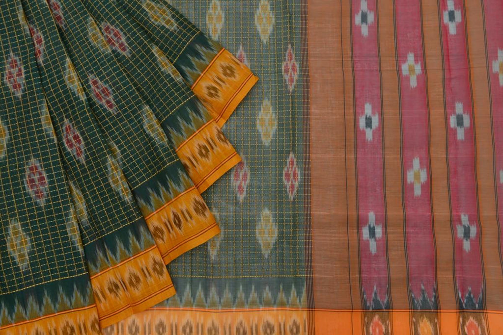 dark green light weight Ikat cotton Saree with red and yellow floral butti with checks