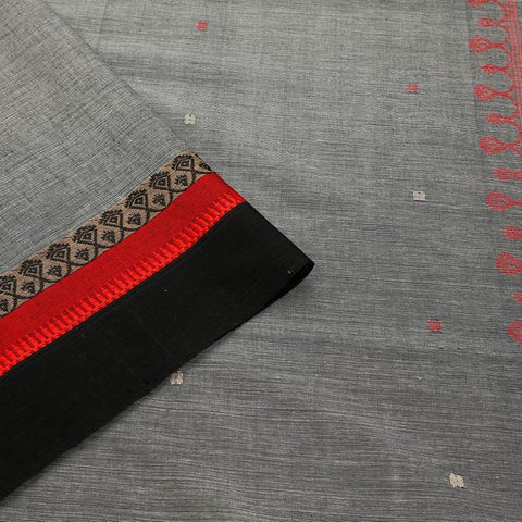 bengal handloom cotton grey Saree with red and black stripes border