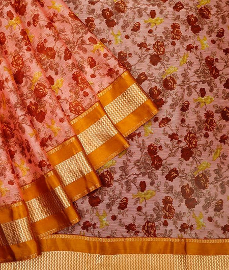chanderi peach cotton Saree with printed floral design