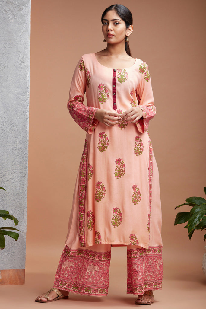 Hand Block Peach Rayon Kurta Set