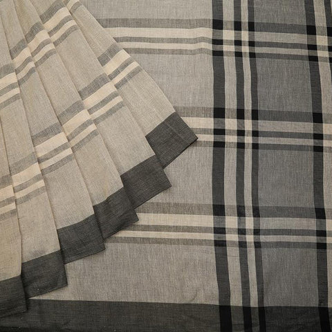 bengal handloom cotton grey Saree with black plain border
