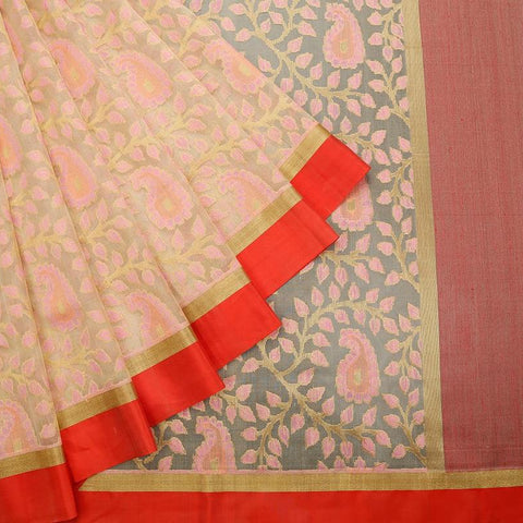 Cream  Organza Silk Parsi Work Saree