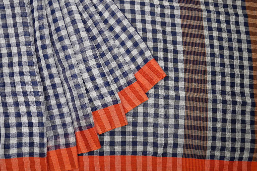 bengal linen handwoven blue and white checks Saree